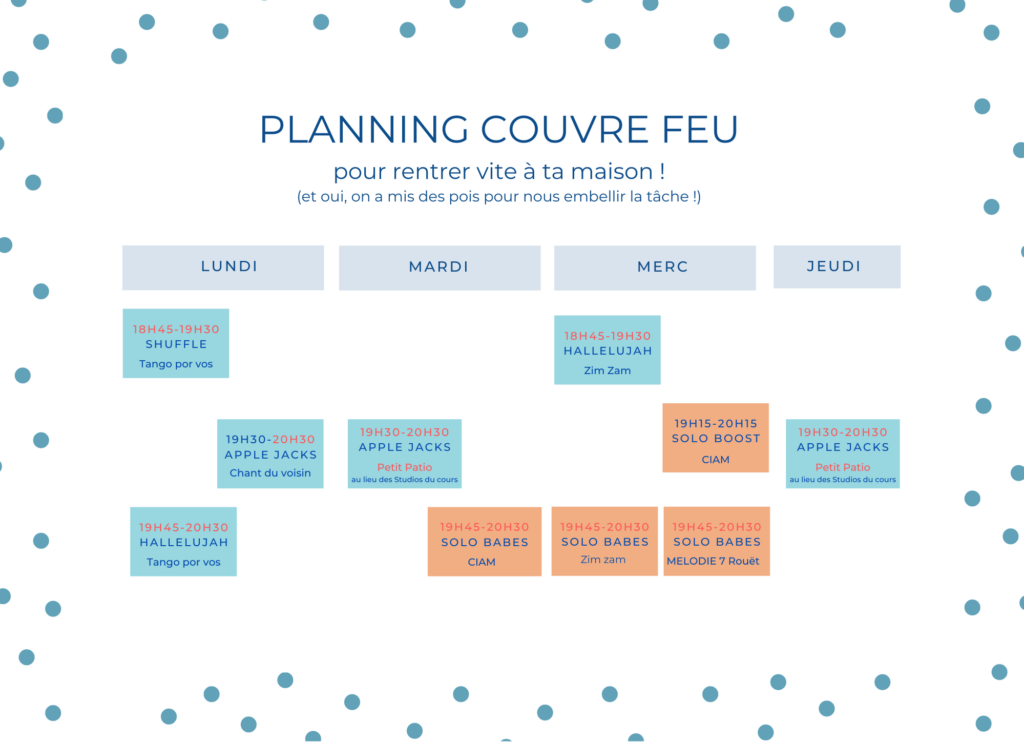 Planning swing couvre feu