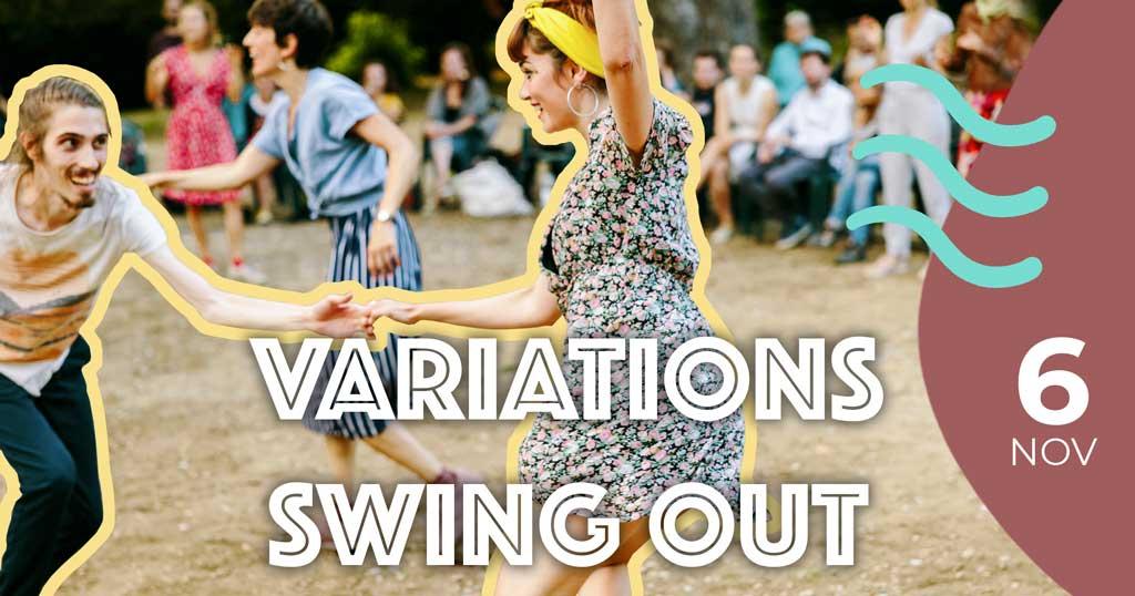 Deux danseurs de The Swing Call entrain de faire un Swing Out en Lindy Hop